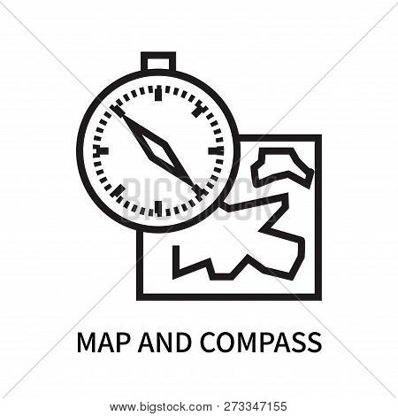 Map And Compass Orientation Tools Icon Isolated On White Background. Map And Compass Orientation Too