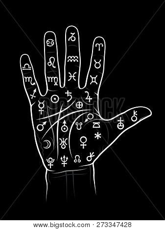 The Art Of Black Magic: Chiromancy & Palmistry. Mystical Chart With Ancient Hieroglyphs, Medieval Ru