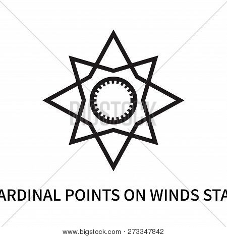 Cardinal Points On Winds Star Icon Isolated On White Background. Cardinal Points On Winds Star Icon