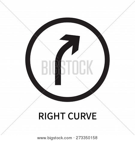 Right Curve Icon Isolated On White Background. Right Curve Icon Simple Sign. Right Curve Icon Trendy