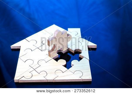 poster of Wooden puzzle wait to fulfill home shape for build dream home or happy life concept  for property, mortgage and real estate investment.  for saving or investment for a house, retirement.jigsaw,