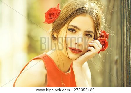 Fashion. Cute Girl Or Pretty Woman With Red Lips, Stylish Makeup On Adorable Young Face, Healthy Ski