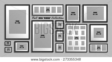 Moscow, Russia - December 10, 2018: Full Collection Of Ikea Ribba Photo Frames. Real Sizes. Vector S