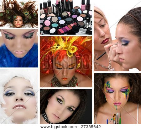 Cosmetics; model with many different make ups