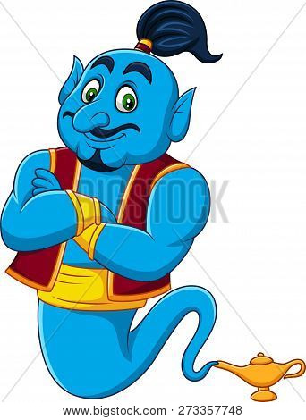 Vector Illustration Of Cartoon Genie Coming Out Of A Magic Lamp