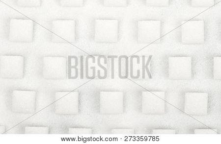 White Sweet Sugar Cubes Seamless Pattern - Selective Focus