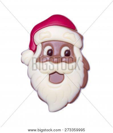 Chocolate Santa Claus, Isolated On White Background