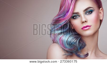 Beauty Fashion Model Girl With Colorful Dyed Hair. Girl With Perfect Makeup And Hairstyle. Model Wit