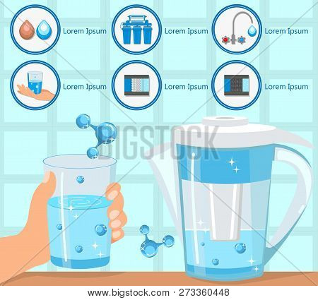 Hand Holding Glass Purified Water. Aqua for Life. Destruction Bacteria. Home Water Filtration. Household Filtering Concept. Purification and Filtration Technology. Vector Flat Illustration. poster