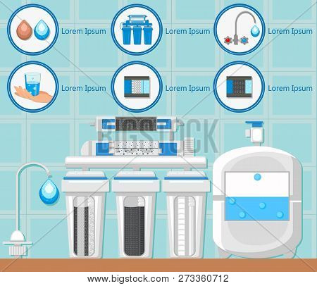 Tap Water. Water Treatment Plant Concept. Destruction Bacteria. Water Purification System. Flasks Wi