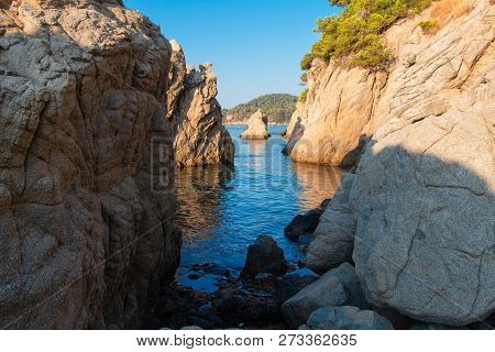 Bay In Mediterranean, Spain. Cliff On Sea Beach In Lloret De Mar, Costa Brava. Nature Landscape Of R