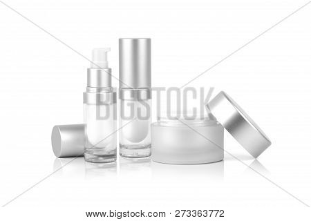 Mock Up Two Empty Container Cream Pump Bottle And A Cream Jar For Cosmetic Is Uncover, Isolated On W