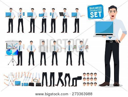 Male Business Person Vector Character Creation Set With Young Professional Man Holding Laptop Showin