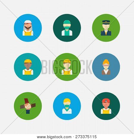 Occupation Icons Set. Indian Worker And Occupation Icons With Arab Worker, Doctor And Teamwork. Set