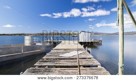 Boat Jetty Found On Bruny Island In Tasmania, Australia.