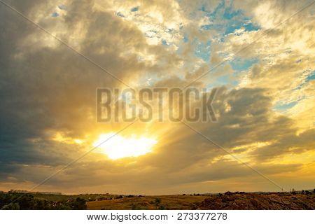 Beautiful Bright Sunset Sky. Beauty of Nature