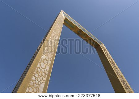 Dubai, Uae - Oct 13, 2018: View Of The Dubai Frame In Dubai, Uae Against Blue Sky