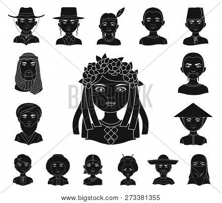 The Human Race Black Icons In Set Collection For Design. People And Nationality Vector Symbol Stock