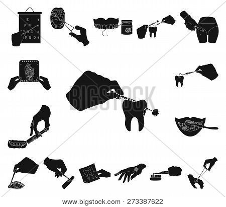 Manipulation By Hands Black Icons In Set Collection For Design. Hand Movement In Medicine Vector Sym