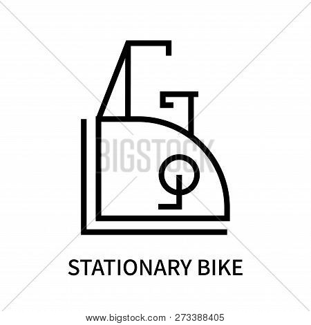 Stationary bike icon isolated on white background. Stationary bike icon simple sign. Stationary bike icon trendy and modern symbol for graphic and web design. Stationary bike icon flat vector illustration for logo, web, app, UI. poster