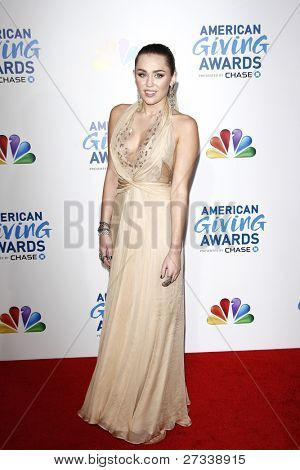 LOS ANGELES - DEC 9:Miley Cyrus at the American Giving Awards Presented By Chase at the Dorothy Chandler Pavilion on December 9, 2011 in Los Angeles, California