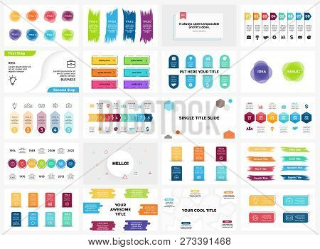 Vector Banners Infographic Templates Set. Arrows, Brush Strokes, Quotes. Stickers Presentation Slide