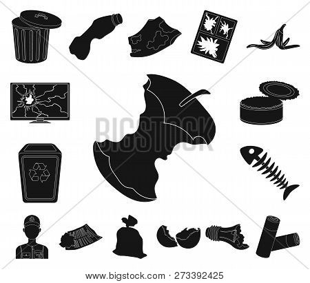Garbage And Waste Black Icons In Set Collection For Design. Cleaning Garbage Vector Symbol Stock Web