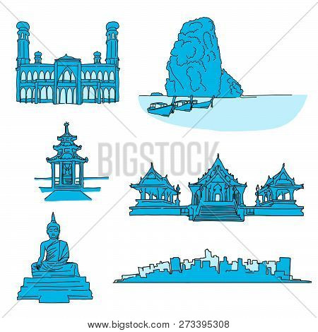 Thailand Famous Landmarks. Hand-drawn Vector Illustration. Famous Travel Destinations Series.