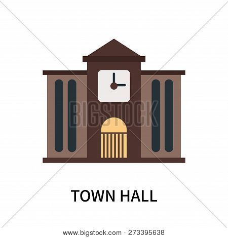 poster of Town hall icon isolated on white background. Town hall icon simple sign. Town hall icon trendy and modern symbol for graphic and web design. Town hall icon flat vector illustration for logo, web, app, UI.
