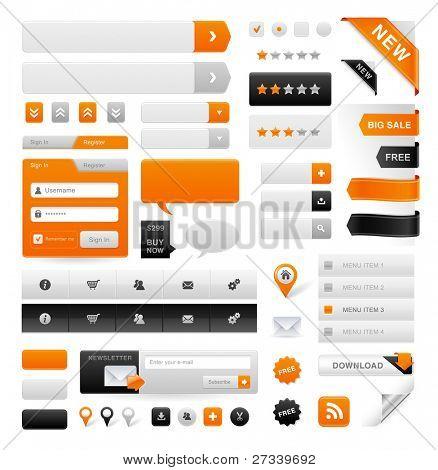 große Reihe von Icons, Buttons und Menüs für websites