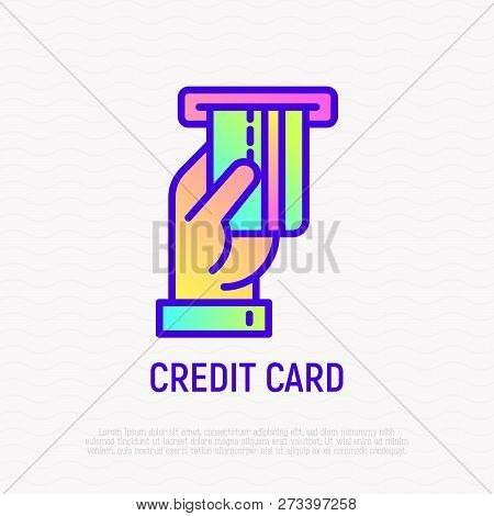 Hand inserting credit card in ATM slot thin line icon. Modern vector illustration with gradient. poster