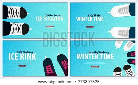Set Of Banners With Ice Skates. Figure Skating. Texture Of Ice Surface. Winter Sports. Vector Illust