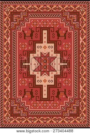 Luxury Vintage Oriental Carpet With Red, Mauve,brown, Beige And Orange Shades On Black Background