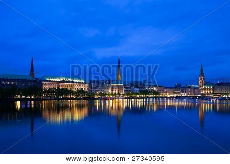 Alster Lake and Downtown Hamburg at the blue hour poster