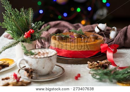 New Year And Christmas Background. Christmas Cake, New Year And Christmas Composition,  New Year And