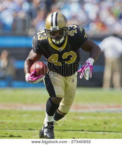 CHARLOTTE, NC - OCT 09, 2011:  Saints Running Back, Darren Sproles, runs for yardage against the Carolina Panthers at the Bank of America Stadium in Charlotte, NC on Oct 9, 2011.