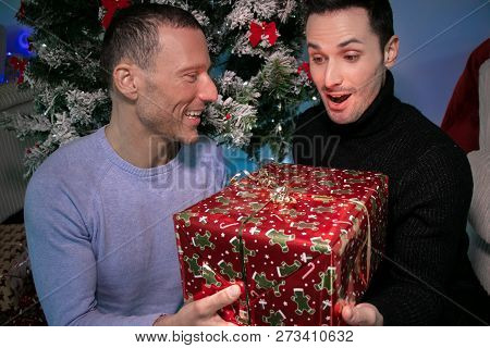 Surprised Male Gay Couple Exchanging Christmas Gift In Front Of Tree