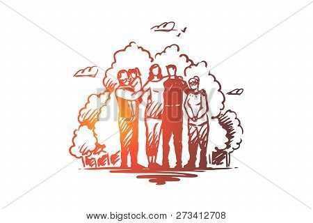 Family, Togetherness, Spending Time With Relatives Vector Concept. Parents, Grandparents And Child O