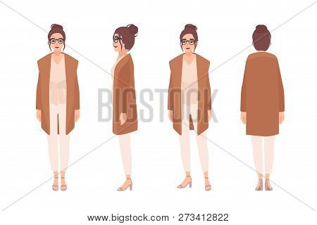 Adorable Smiling Girl Dressed In Casual Clothes. Funny Young Woman Wearing Cardigan. Female Cartoon