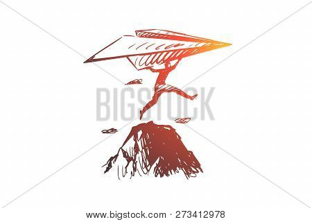 Start-up, Inventor Vector Concept. Businessman With Paper Airplane Jumping On Rocks. Hand Drawn Sket