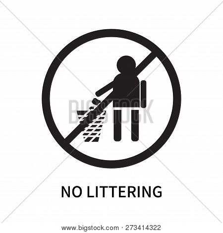 No Littering Icon Isolated On White Background. No Littering Icon Simple Sign. No Littering Icon Tre