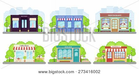 Shop, Store Front. Vector. Storefront Boutique, Cafe, Restaurant, Pharmacy, Bakery Store, Book Shop.