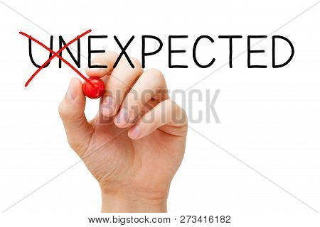 Hand Changing The Word Unexpected Into Expected With Red Marker Isolated On White. Expect The Unexpe