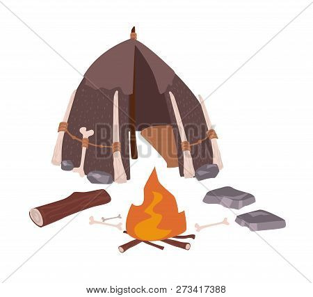 Primitive house or archaic prehistoric dwelling of cavemen and bonfire isolated on white background. Hut made of bones and skin from Stone Age. Colorful vector illustration in flat cartoon style. poster