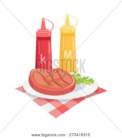 Bbq Beef Served On Plate With Herb And Sauces Isolated Icon Vector. Ketchup And Mustard In Plastic B