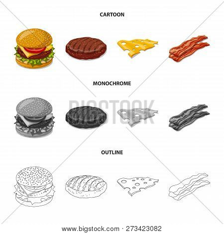 Vector Illustration Of Burger And Sandwich Icon. Collection Of Burger And Slice Stock Symbol For Web