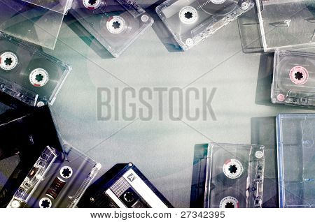 Old Fashioned Audio Tape Cassettes Background