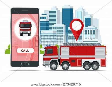 Red Fire Truck, Vehicle Of Emergency. Call Emergency. Firefighters Design Element. Side View Vector
