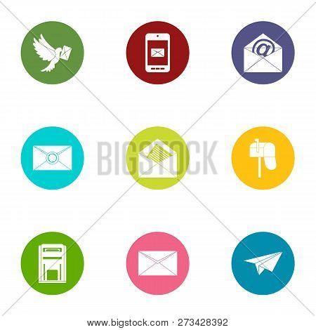 Correspondence icons set. Flat set of 9 correspondence icons for web isolated on white background poster