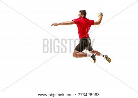 The Fit Caucasian Young Male Handball Player At Studio On White Background. Fit Athlete Isolated On
